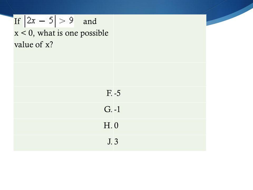 If and x < 0, what is one possible value of x F.-5 G. H.0 J.3