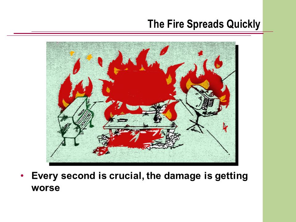 The Fire Spreads Quickly Every second is crucial, the damage is getting worse
