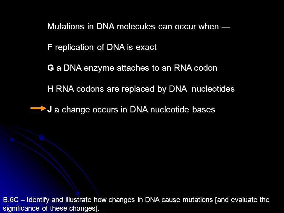 B.6C – Identify and illustrate how changes in DNA cause mutations [and evaluate the significance of these changes]. Mutations in DNA molecules can occ