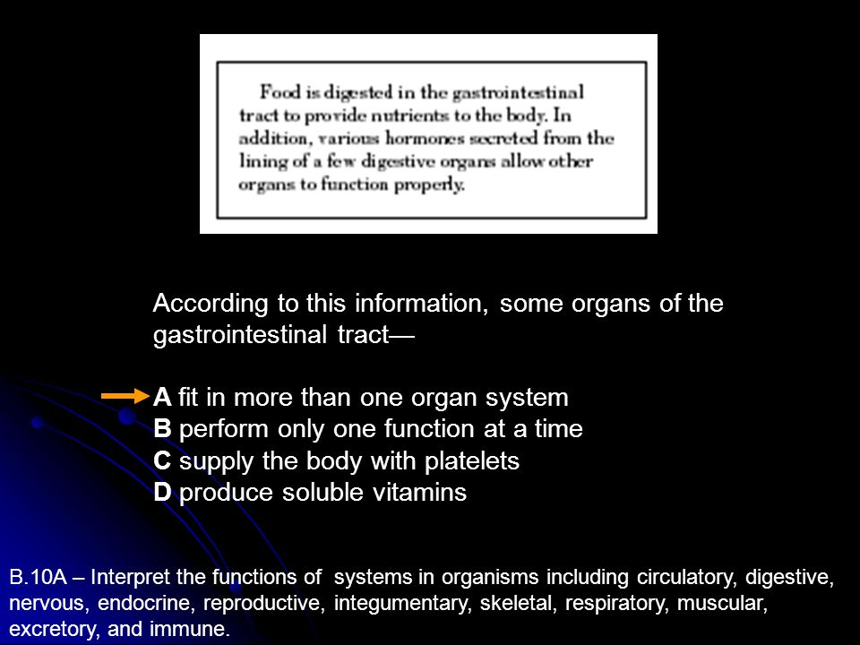B.10A – Interpret the functions of systems in organisms including circulatory, digestive, nervous, endocrine, reproductive, integumentary, skeletal, r