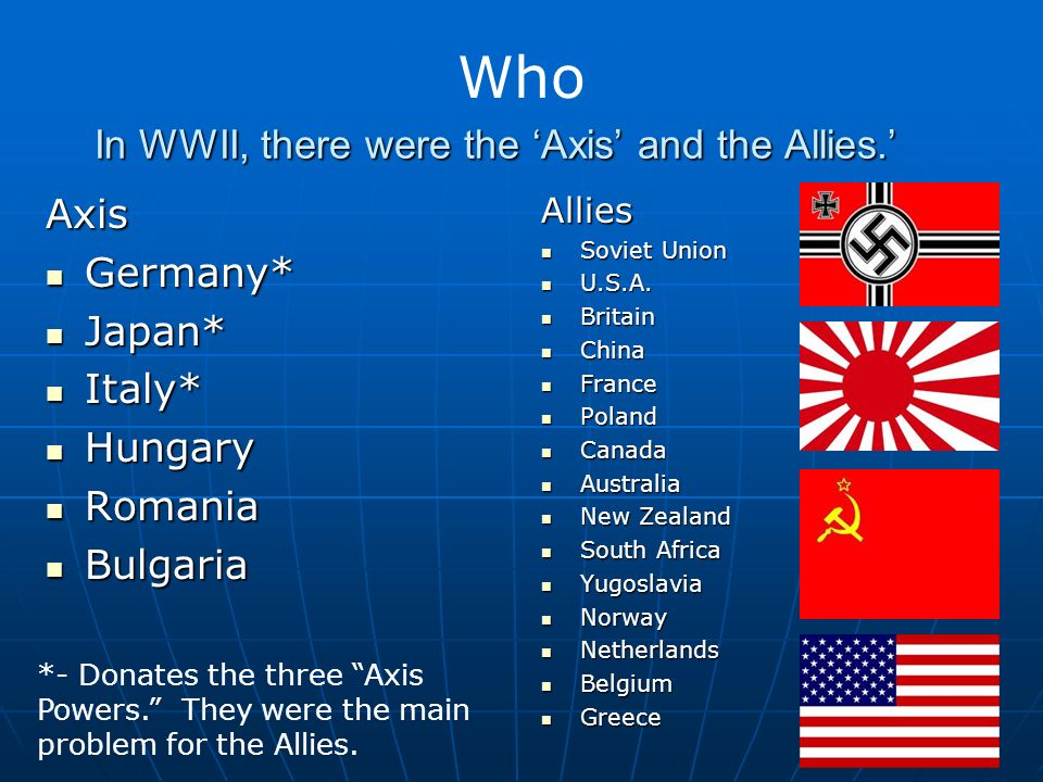 In WWII, there were the Axis and the Allies.