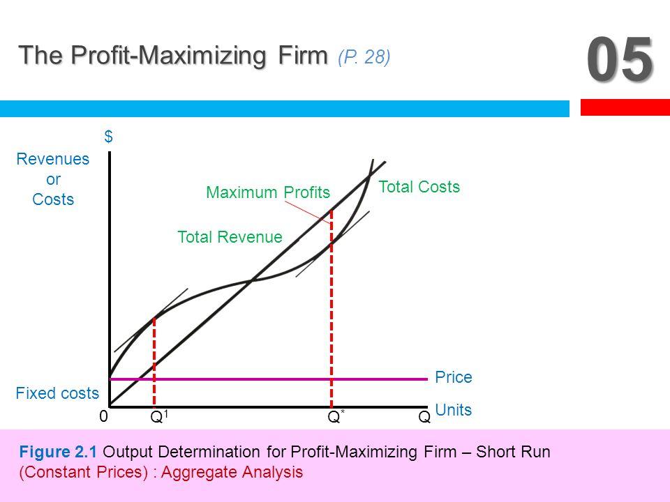 05 The Profit-Maximizing Firm The Profit-Maximizing Firm (P. 28) 0 Q1Q1 Q*Q* Q Fixed costs Revenues or Costs $ Units Total Revenue Maximum Profits Tot