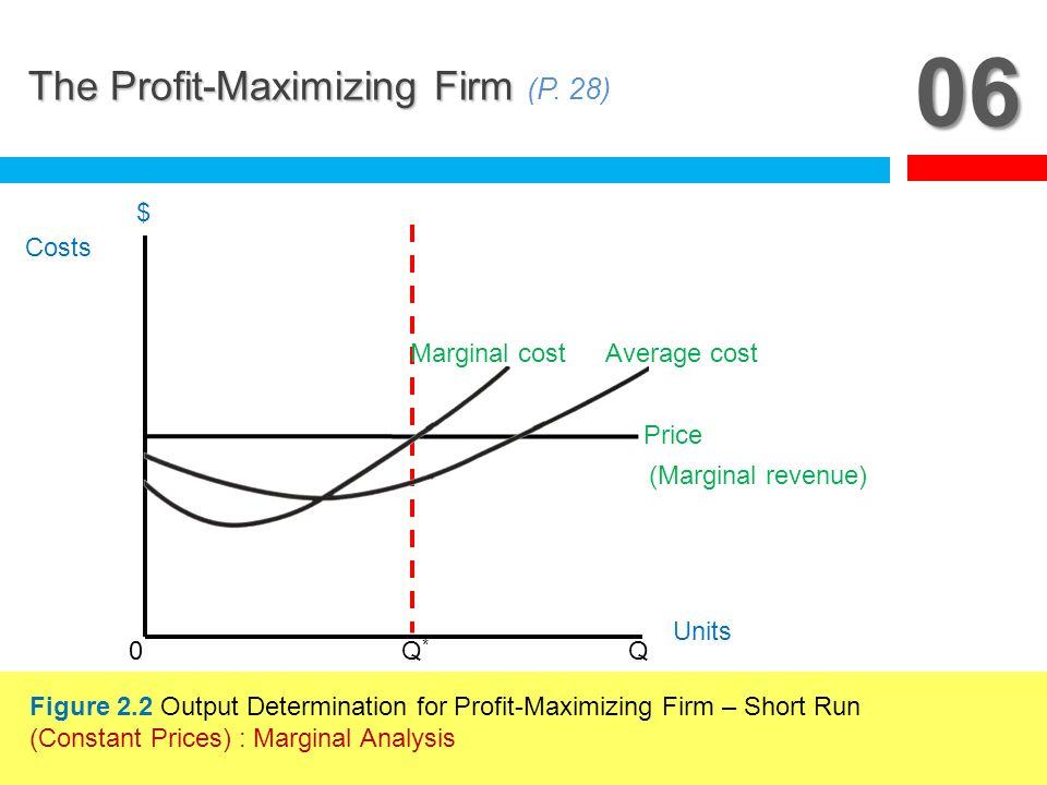 06 The Profit-Maximizing Firm The Profit-Maximizing Firm (P. 28) 0 Q*Q* Q Costs $ Units Price Average costMarginal cost (Marginal revenue) Figure 2.2