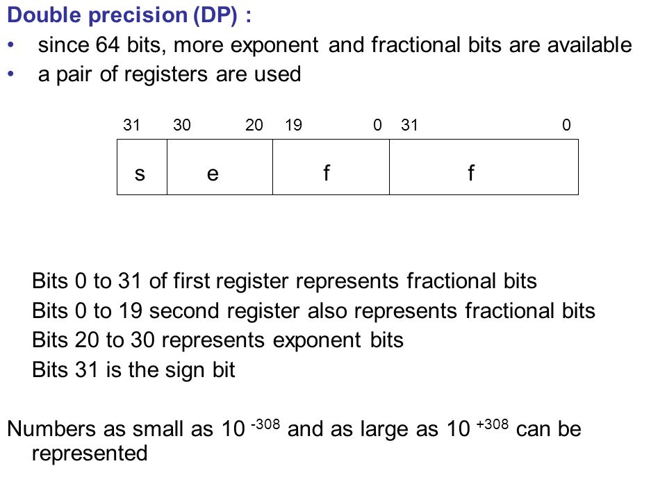 Double precision (DP) : since 64 bits, more exponent and fractional bits are available a pair of registers are used Bits 0 to 31 of first register represents fractional bits Bits 0 to 19 second register also represents fractional bits Bits 20 to 30 represents exponent bits Bits 31 is the sign bit Numbers as small as 10 -308 and as large as 10 +308 can be represented ffes 031019203031