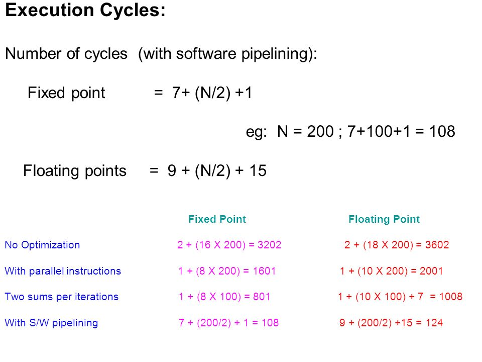 Execution Cycles: Number of cycles (with software pipelining): Fixed point = 7+ (N/2) +1 eg: N = 200 ; 7+100+1 = 108 Floating points = 9 + (N/2) + 15 Fixed Point Floating Point No Optimization 2 + (16 X 200) = 3202 2 + (18 X 200) = 3602 With parallel instructions 1 + (8 X 200) = 1601 1 + (10 X 200) = 2001 Two sums per iterations 1 + (8 X 100) = 801 1 + (10 X 100) + 7 = 1008 With S/W pipelining 7 + (200/2) + 1 = 108 9 + (200/2) +15 = 124