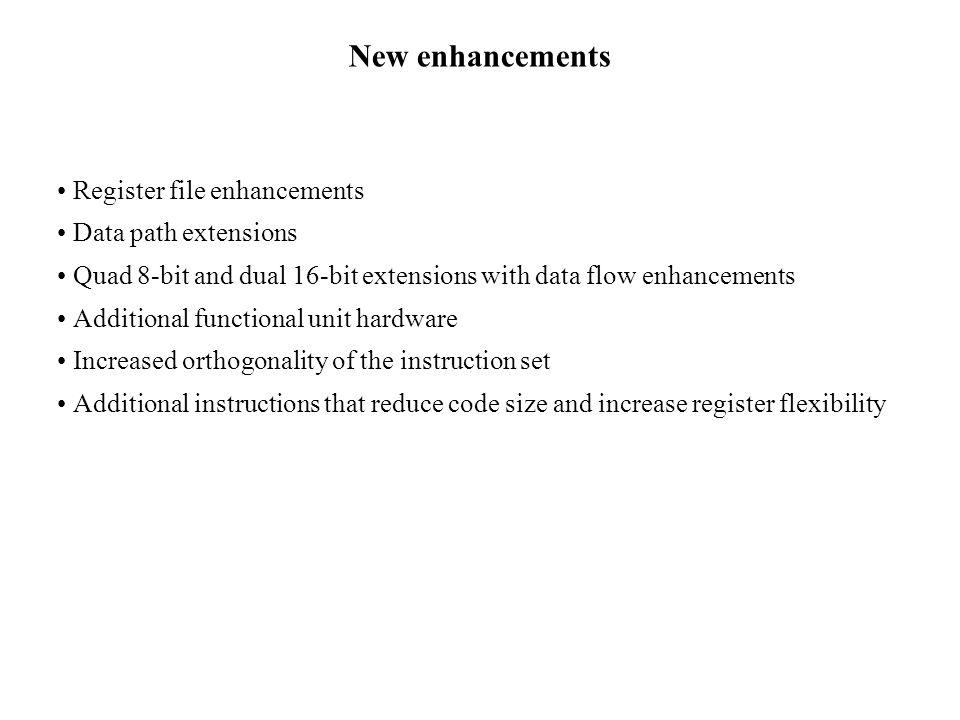 New enhancements Register file enhancements Data path extensions Quad 8-bit and dual 16-bit extensions with data flow enhancements Additional function