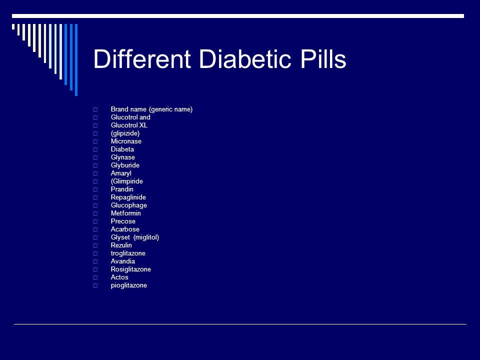 Different Diabetic Pills Brand name (generic name) Glucotrol and Glucotrol XL (glipizide) Micronase Diabeta Glynase Glyburide Amaryl (Glimpiride Prand