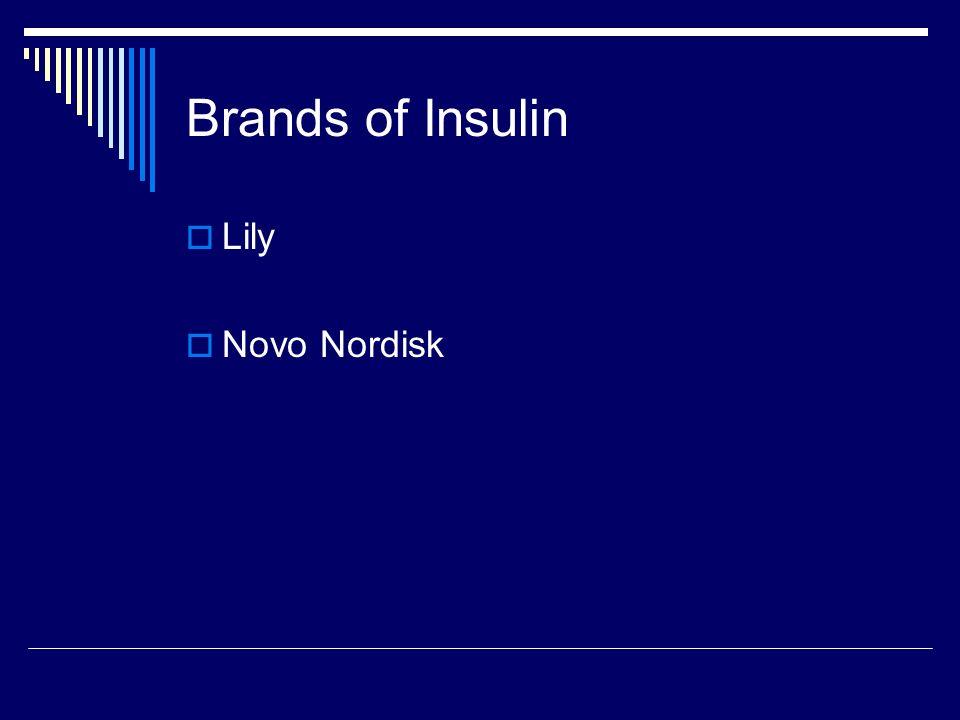 Brands of Insulin Lily Novo Nordisk
