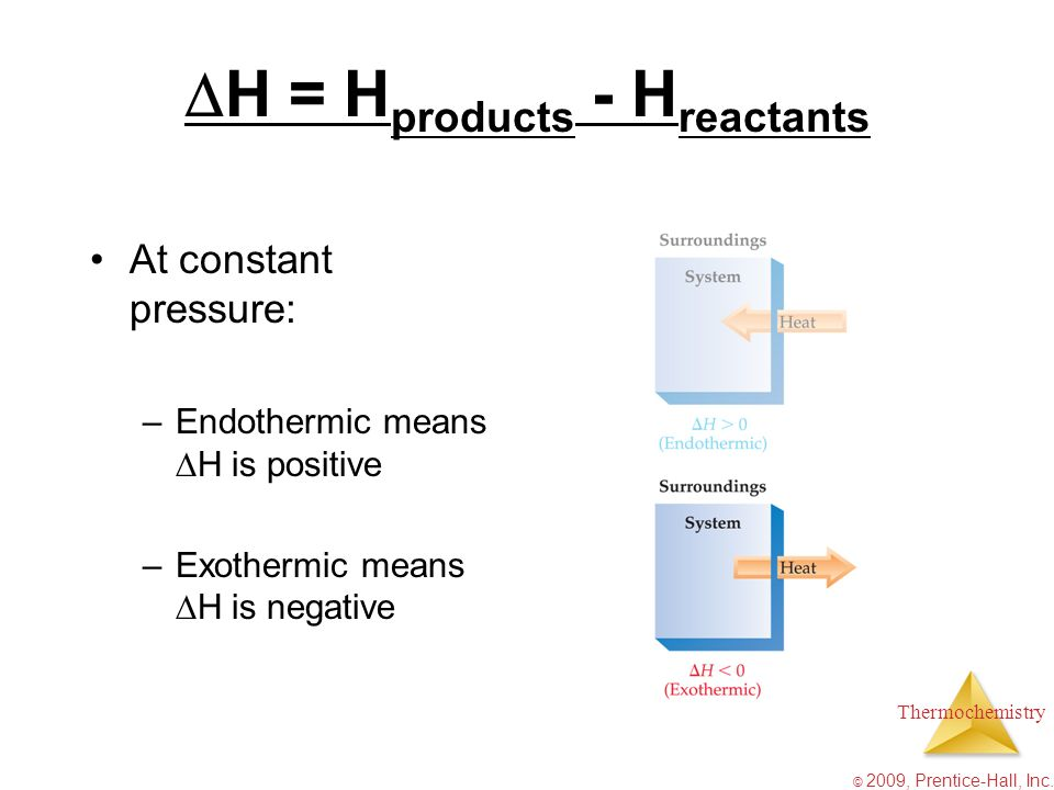 Thermochemistry © 2009, Prentice-Hall, Inc. H = H products - H reactants At constant pressure: –Endothermic means H is positive –Exothermic means H is