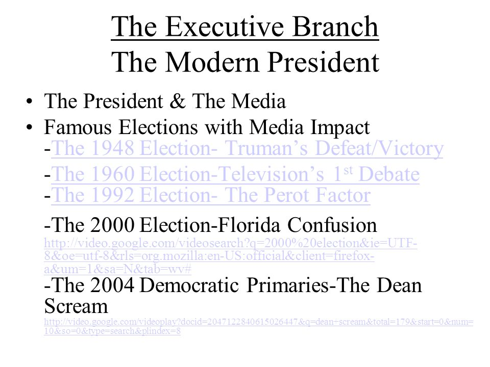 The Executive Branch The Modern President The President & The Media Famous Elections with Media Impact -The 1948 Election- Trumans Defeat/VictoryThe 1