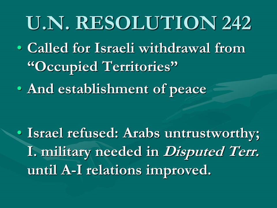 U.N. RESOLUTION 242 Called for Israeli withdrawal from Occupied TerritoriesCalled for Israeli withdrawal from Occupied Territories And establishment o