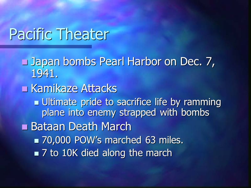 Pacific Theater Japan bombs Pearl Harbor on Dec. 7, 1941. Japan bombs Pearl Harbor on Dec. 7, 1941. Kamikaze Attacks Kamikaze Attacks Ultimate pride t