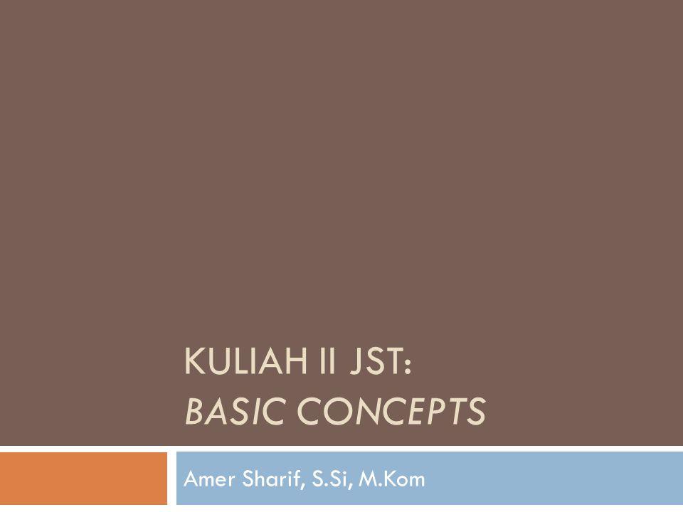 KULIAH II JST: BASIC CONCEPTS Amer Sharif, S.Si, M.Kom