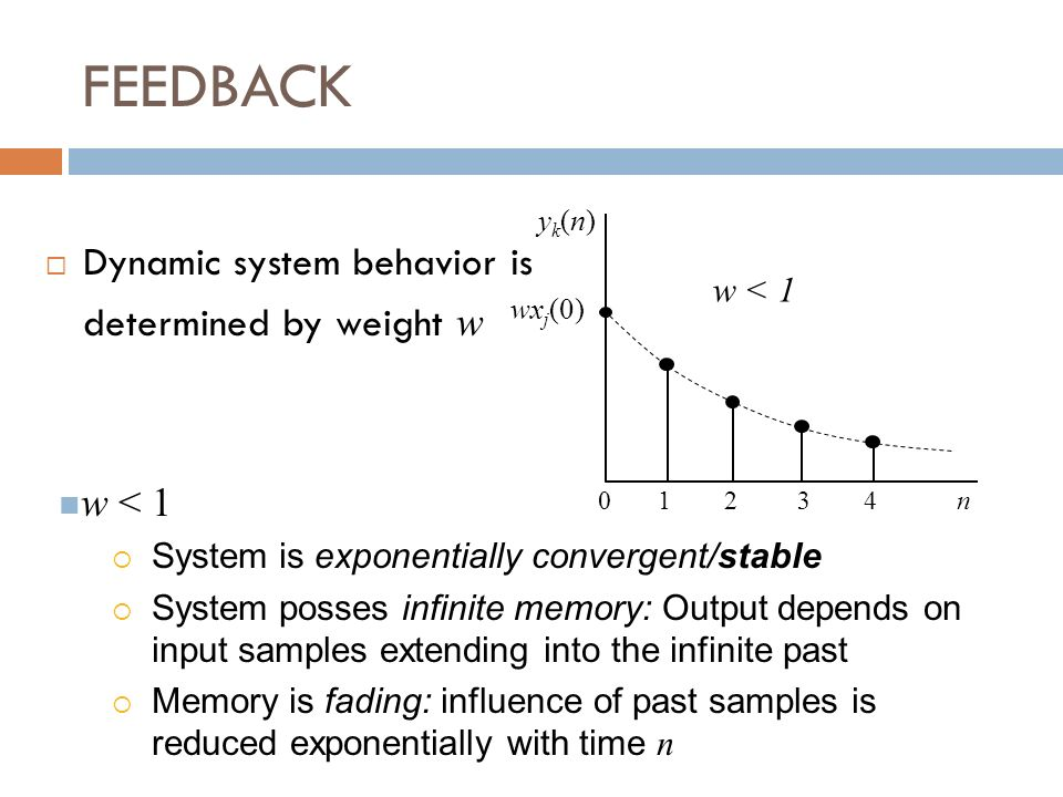 FEEDBACK Dynamic system behavior is determined by weight w y k (n) wx j (0) 0 1 2 3 4 n w < 1 System is exponentially convergent/stable System posses infinite memory: Output depends on input samples extending into the infinite past Memory is fading: influence of past samples is reduced exponentially with time n w < 1