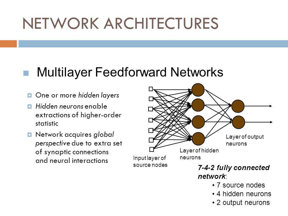 NETWORK ARCHITECTURES One or more hidden layers Hidden neurons enable extractions of higher-order statistic Network acquires global perspective due to extra set of synaptic connections and neural interactions Multilayer Feedforward Networks Input layer of source nodes Layer of hidden neurons Layer of output neurons 7-4-2 fully connected network: 7 source nodes 4 hidden neurons 2 output neurons