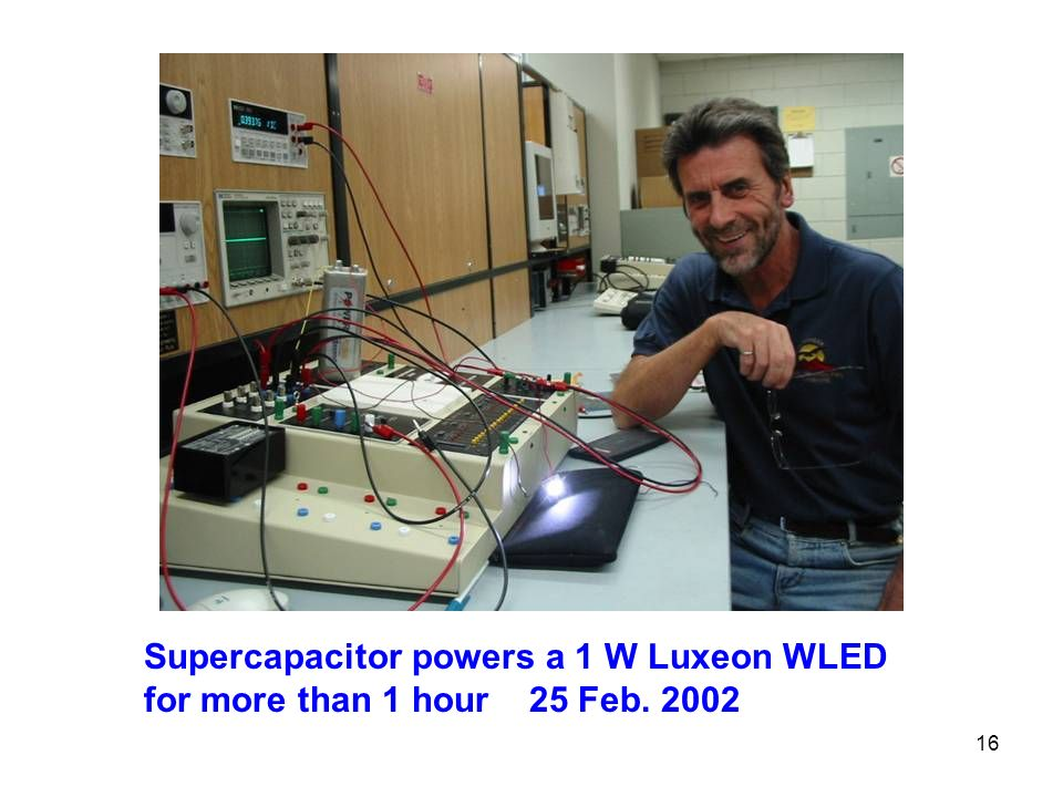 16 Supercapacitor powers a 1 W Luxeon WLED for more than 1 hour 25 Feb. 2002