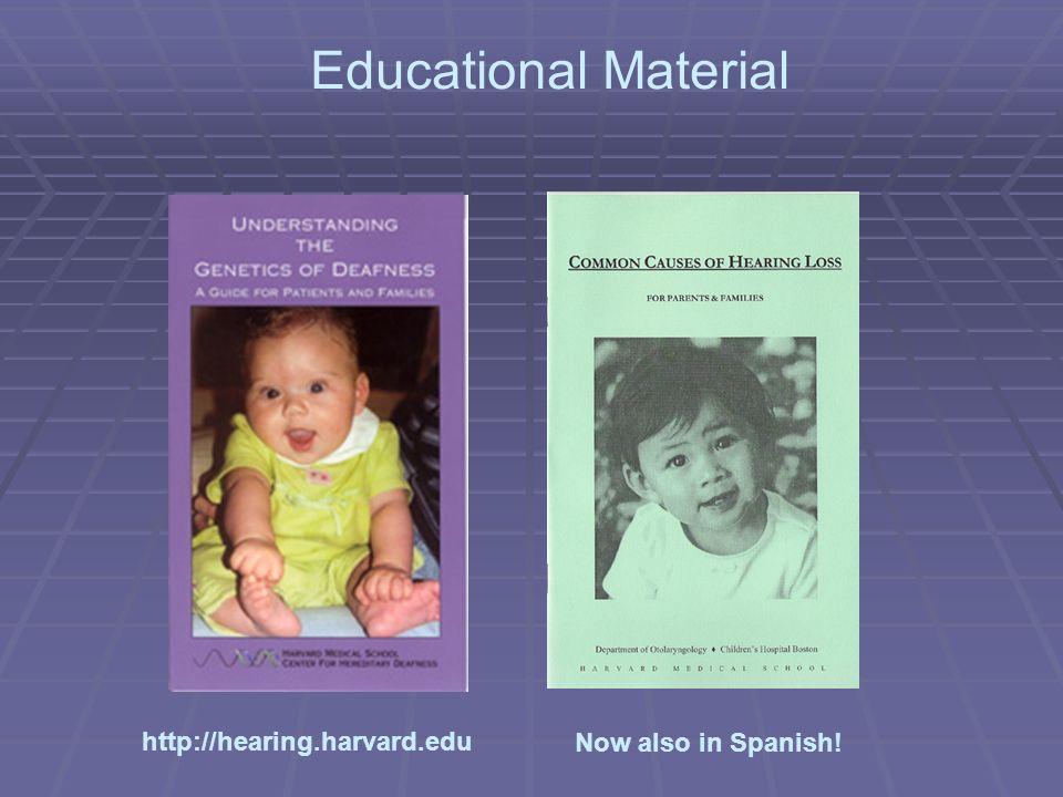 Now also in Spanish! Educational Material http://hearing.harvard.edu