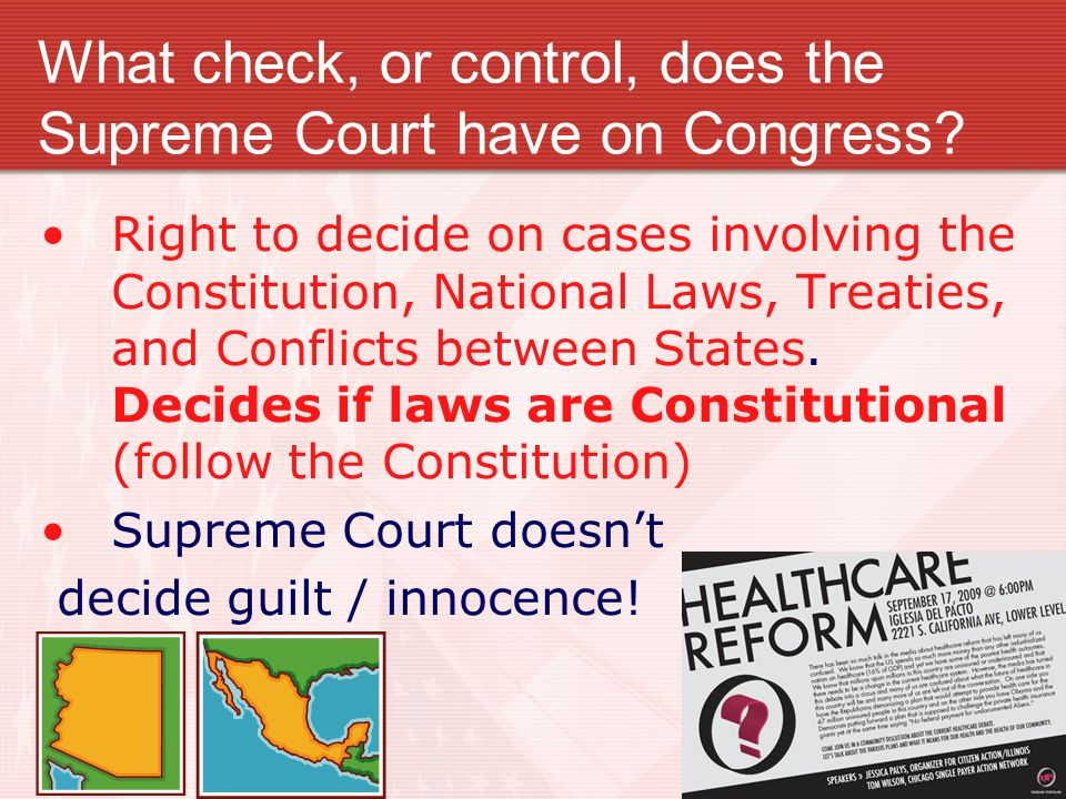 What check, or control, does the Supreme Court have on Congress.