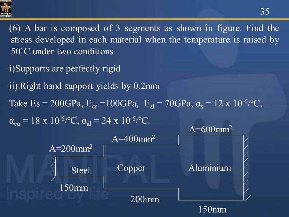 (6) A bar is composed of 3 segments as shown in figure. Find the stress developed in each material when the temperature is raised by 50˚C under two co