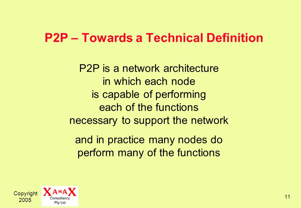 Copyright 2005 11 P2P – Towards a Technical Definition P2P is a network architecture in which each node is capable of performing each of the functions necessary to support the network and in practice many nodes do perform many of the functions
