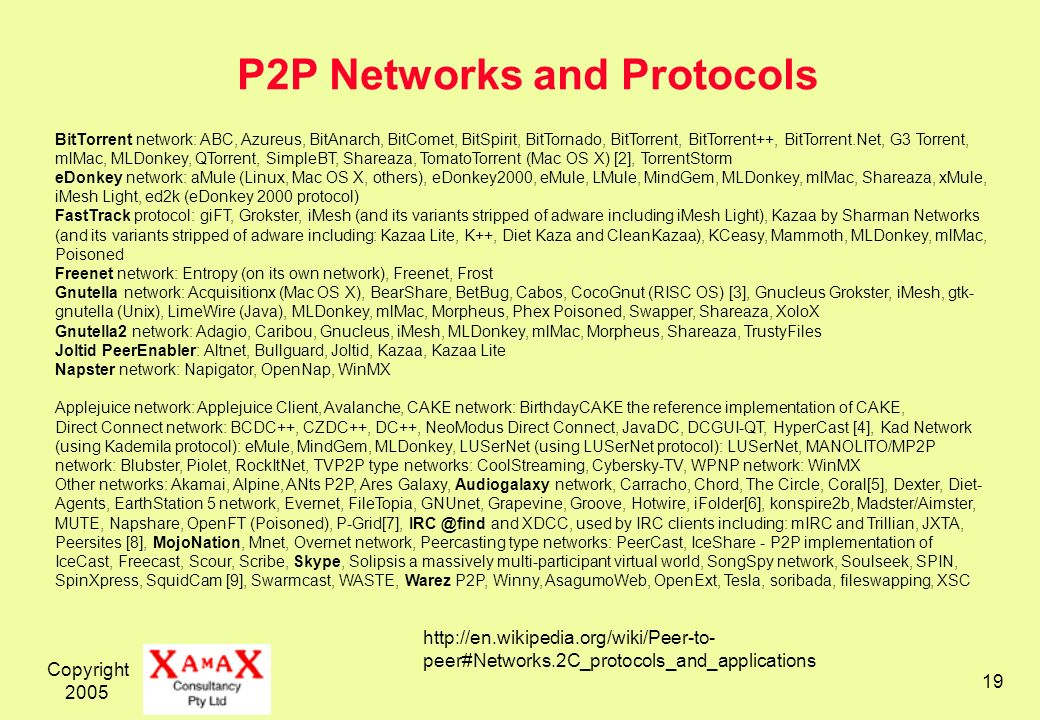 Copyright 2005 19 P2P Networks and Protocols http://en.wikipedia.org/wiki/Peer-to- peer#Networks.2C_protocols_and_applications BitTorrent network: ABC, Azureus, BitAnarch, BitComet, BitSpirit, BitTornado, BitTorrent, BitTorrent++, BitTorrent.Net, G3 Torrent, mlMac, MLDonkey, QTorrent, SimpleBT, Shareaza, TomatoTorrent (Mac OS X) [2], TorrentStorm eDonkey network: aMule (Linux, Mac OS X, others), eDonkey2000, eMule, LMule, MindGem, MLDonkey, mlMac, Shareaza, xMule, iMesh Light, ed2k (eDonkey 2000 protocol) FastTrack protocol: giFT, Grokster, iMesh (and its variants stripped of adware including iMesh Light), Kazaa by Sharman Networks (and its variants stripped of adware including: Kazaa Lite, K++, Diet Kaza and CleanKazaa), KCeasy, Mammoth, MLDonkey, mlMac, Poisoned Freenet network: Entropy (on its own network), Freenet, Frost Gnutella network: Acquisitionx (Mac OS X), BearShare, BetBug, Cabos, CocoGnut (RISC OS) [3], Gnucleus Grokster, iMesh, gtk- gnutella (Unix), LimeWire (Java), MLDonkey, mlMac, Morpheus, Phex Poisoned, Swapper, Shareaza, XoloX Gnutella2 network: Adagio, Caribou, Gnucleus, iMesh, MLDonkey, mlMac, Morpheus, Shareaza, TrustyFiles Joltid PeerEnabler: Altnet, Bullguard, Joltid, Kazaa, Kazaa Lite Napster network: Napigator, OpenNap, WinMX Applejuice network: Applejuice Client, Avalanche, CAKE network: BirthdayCAKE the reference implementation of CAKE, Direct Connect network: BCDC++, CZDC++, DC++, NeoModus Direct Connect, JavaDC, DCGUI-QT, HyperCast [4], Kad Network (using Kademila protocol): eMule, MindGem, MLDonkey, LUSerNet (using LUSerNet protocol): LUSerNet, MANOLITO/MP2P network: Blubster, Piolet, RockItNet, TVP2P type networks: CoolStreaming, Cybersky-TV, WPNP network: WinMX Other networks: Akamai, Alpine, ANts P2P, Ares Galaxy, Audiogalaxy network, Carracho, Chord, The Circle, Coral[5], Dexter, Diet- Agents, EarthStation 5 network, Evernet, FileTopia, GNUnet, Grapevine, Groove, Hotwire, iFolder[6], konspire2b, Madster/Aimster, MUTE, Napshare, OpenFT (Poisoned), P-Grid[7], IRC @find and XDCC, used by IRC clients including: mIRC and Trillian, JXTA, Peersites [8], MojoNation, Mnet, Overnet network, Peercasting type networks: PeerCast, IceShare - P2P implementation of IceCast, Freecast, Scour, Scribe, Skype, Solipsis a massively multi-participant virtual world, SongSpy network, Soulseek, SPIN, SpinXpress, SquidCam [9], Swarmcast, WASTE, Warez P2P, Winny, AsagumoWeb, OpenExt, Tesla, soribada, fileswapping, XSC