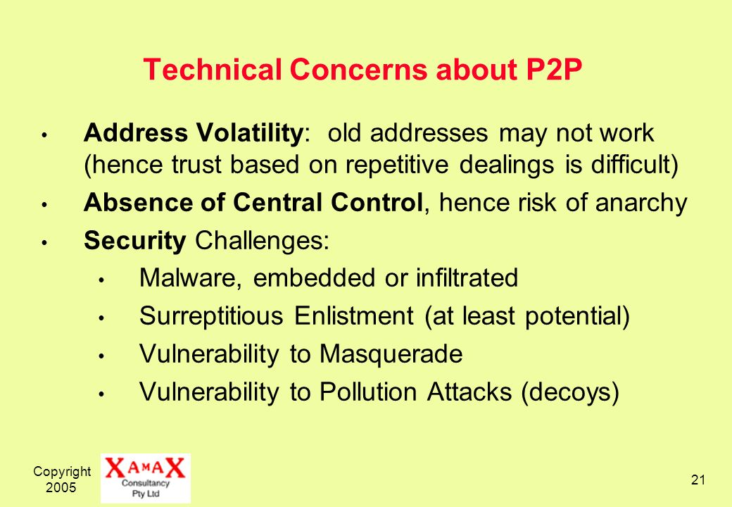 Copyright 2005 21 Technical Concerns about P2P Address Volatility: old addresses may not work (hence trust based on repetitive dealings is difficult) Absence of Central Control, hence risk of anarchy Security Challenges: Malware, embedded or infiltrated Surreptitious Enlistment (at least potential) Vulnerability to Masquerade Vulnerability to Pollution Attacks (decoys)
