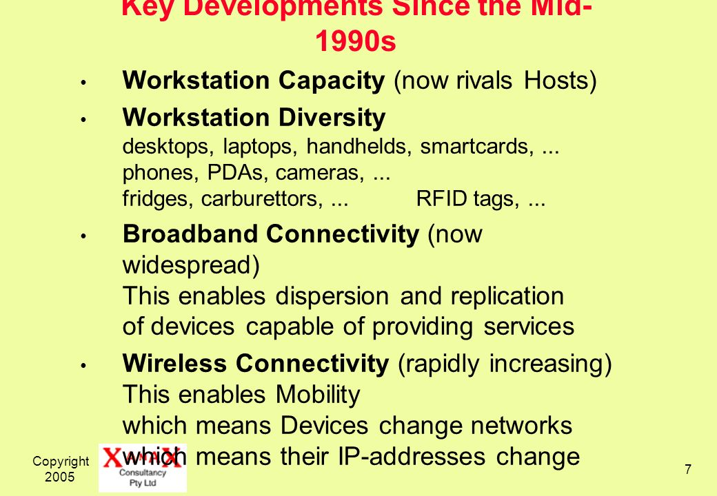 Copyright 2005 7 Key Developments Since the Mid- 1990s Workstation Capacity (now rivals Hosts) Workstation Diversity desktops, laptops, handhelds, smartcards,...