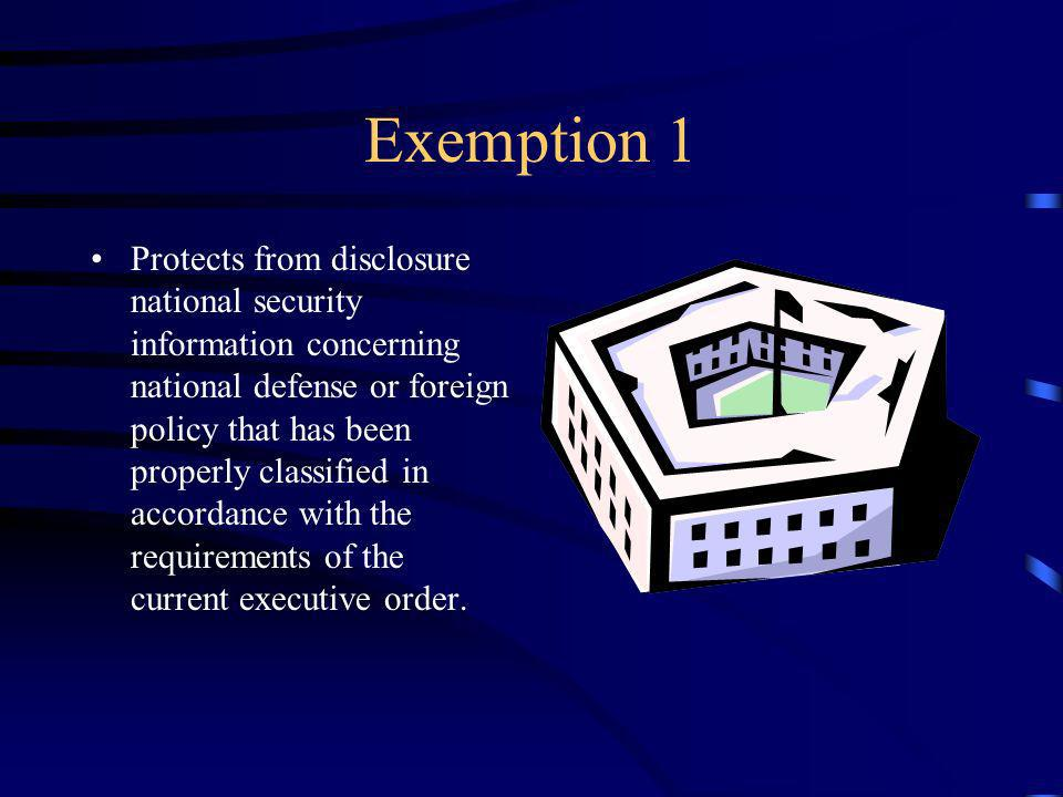 Exemption 1 Protects from disclosure national security information concerning national defense or foreign policy that has been properly classified in accordance with the requirements of the current executive order.