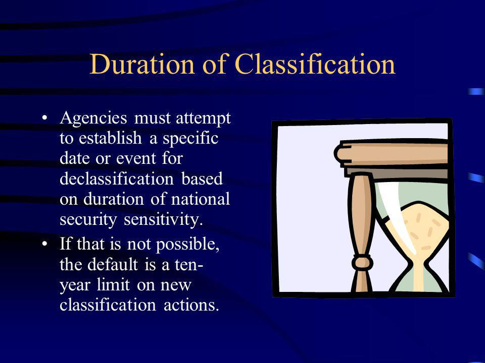 Duration of Classification Agencies must attempt to establish a specific date or event for declassification based on duration of national security sensitivity.