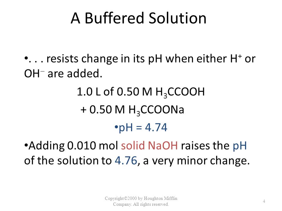 A Buffered Solution... resists change in its pH when either H + or OH are added. 1.0 L of 0.50 M H 3 CCOOH + 0.50 M H 3 CCOONa pH = 4.74 Adding 0.010