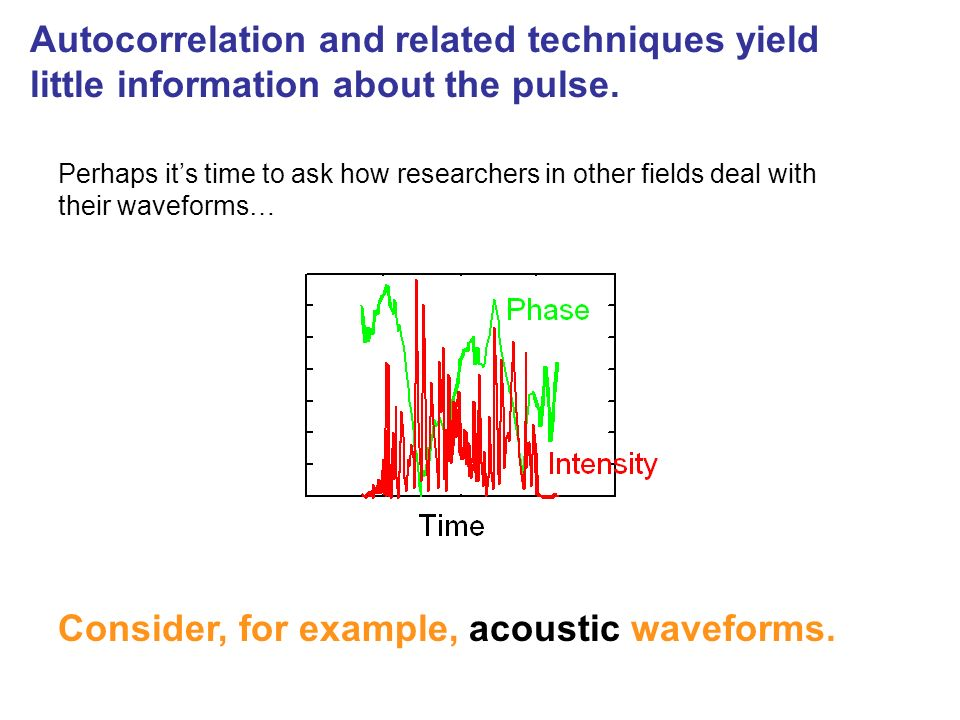 Perhaps its time to ask how researchers in other fields deal with their waveforms… Consider, for example, acoustic waveforms. Autocorrelation and rela
