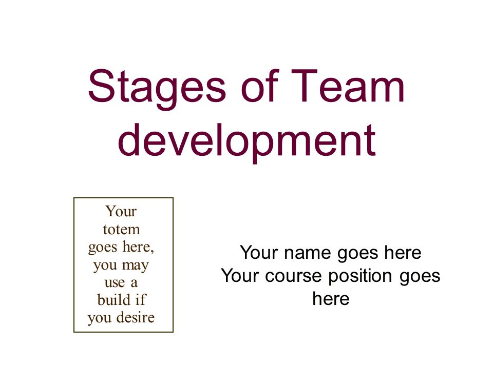 Stages of Team development Your name goes here Your course position goes here Your totem goes here, you may use a build if you desire