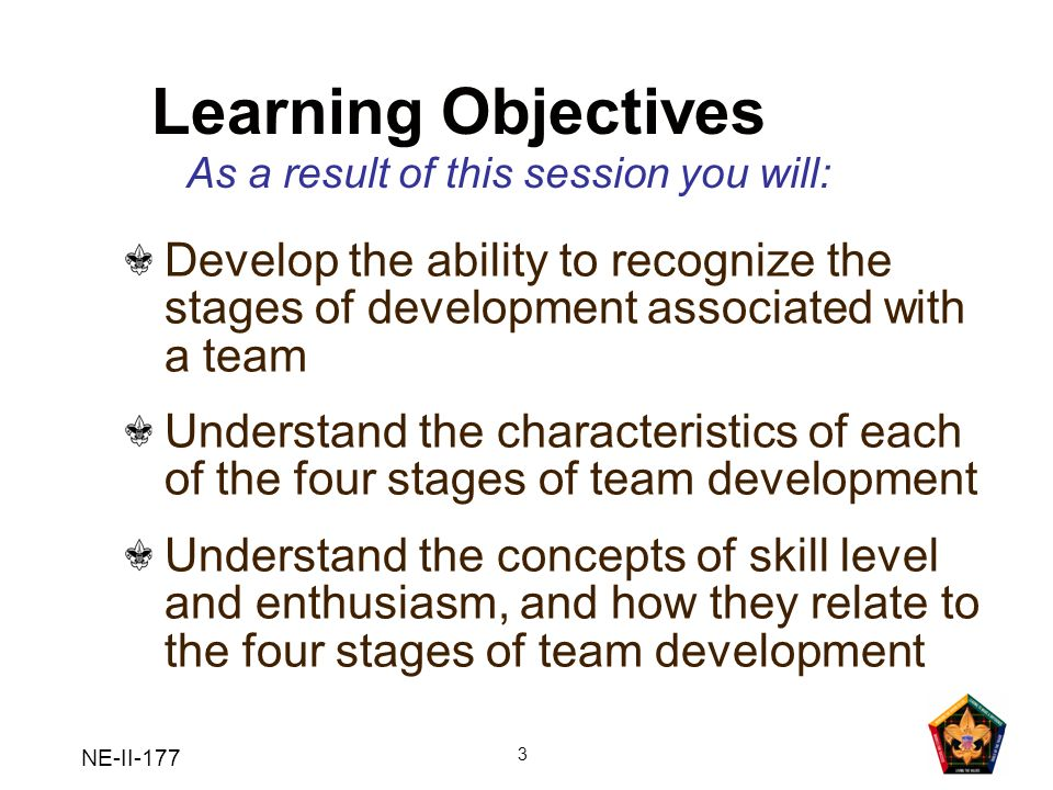 NE-II-177 3 Learning Objectives Develop the ability to recognize the stages of development associated with a team Understand the characteristics of ea