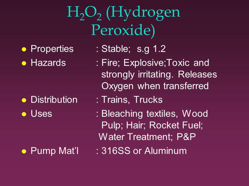 H 2 SO 4 contd l Materials: See chart l Pump types: ANSI, Taber, Self Priming l Seals: Carbon/Ceramic (>90%) T.C.