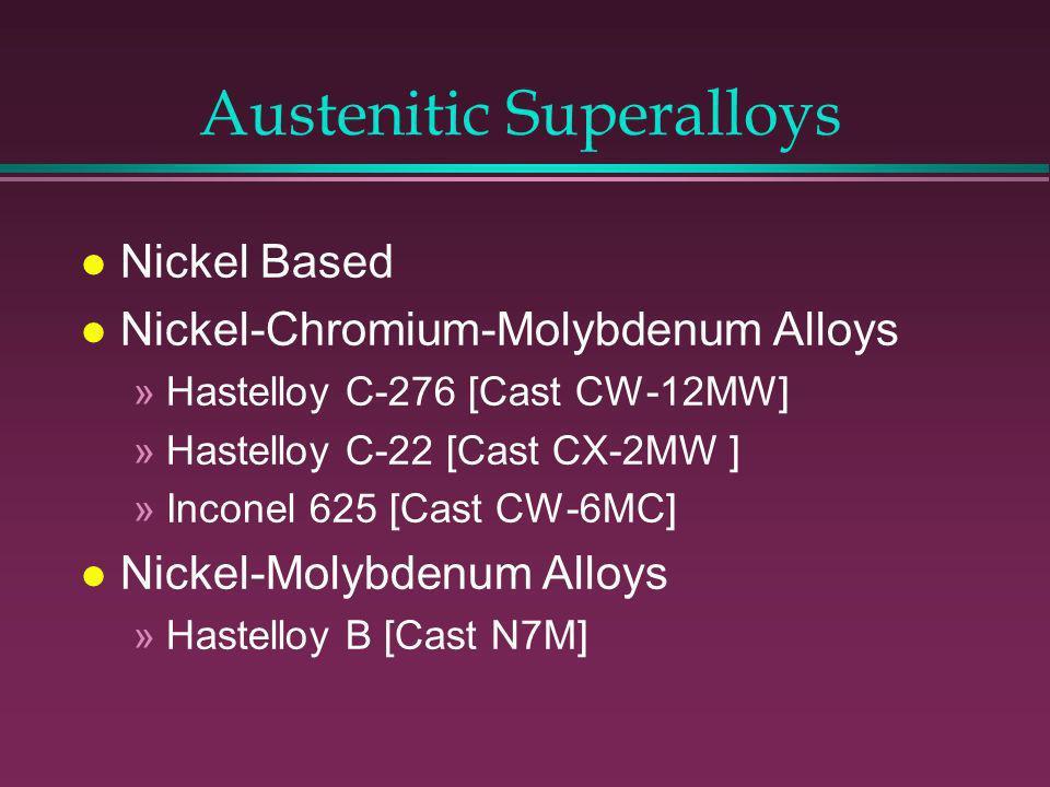 Austenitic 300 Series l Most Prevalent in the CPI l Nickel >8%-Structure Austenitic l 18-8 SS (304) original l 316- Cast-CF8M [18% Cr-9%Ni- 2.5%Mo] l