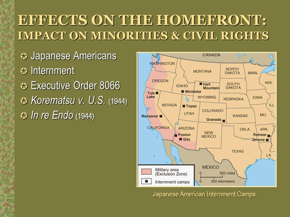 EFFECTS ON THE HOMEFRONT: IMPACT ON MINORITIES & CIVIL RIGHTS Japanese Americans Japanese Americans Internment Internment Executive Order 8066 Executi
