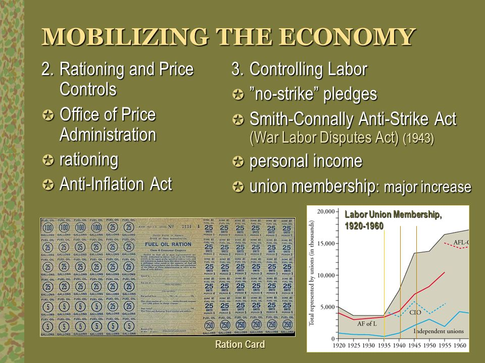 MOBILIZING THE ECONOMY 2.Rationing and Price Controls Office of Price Administration Office of Price Administration rationing rationing Anti-Inflation
