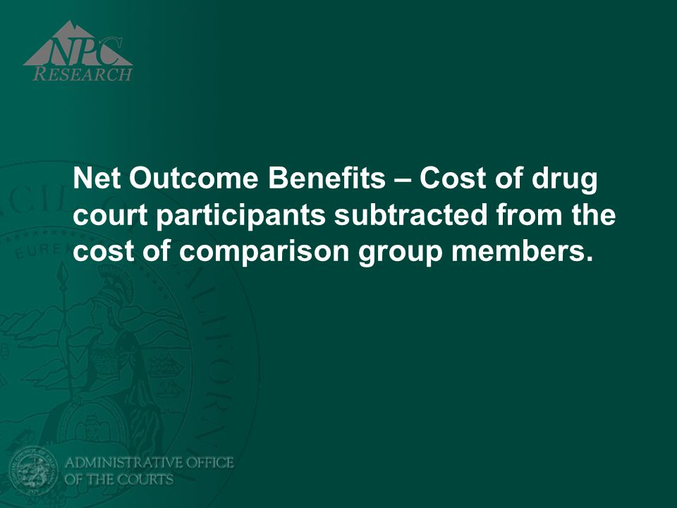 Net Outcome Benefits – Cost of drug court participants subtracted from the cost of comparison group members.