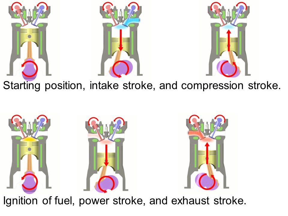 Starting position, intake stroke, and compression stroke. Ignition of fuel, power stroke, and exhaust stroke.
