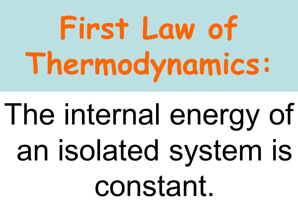 First Law of Thermodynamics: The internal energy of an isolated system is constant.