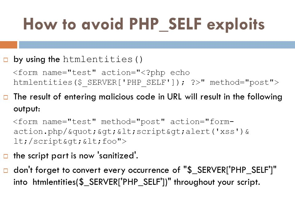 How to avoid PHP_SELF exploits by using the htmlentities()