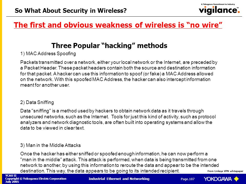 YCAU II Copyright © Yokogawa Electric Corporation July 2005 Industrial Ethernet and Networking Page.107 So What About Security in Wireless? 1) MAC Add