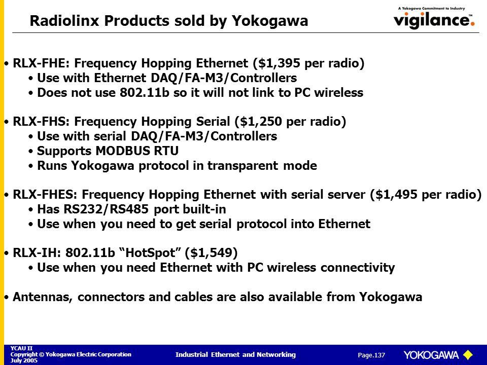 YCAU II Copyright © Yokogawa Electric Corporation July 2005 Industrial Ethernet and Networking Page.137 Radiolinx Products sold by Yokogawa RLX-FHE: F