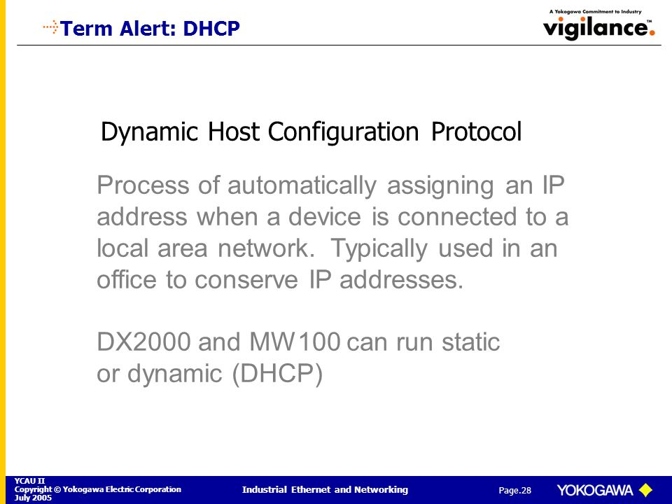 YCAU II Copyright © Yokogawa Electric Corporation July 2005 Industrial Ethernet and Networking Page.28 Dynamic Host Configuration Protocol Process of
