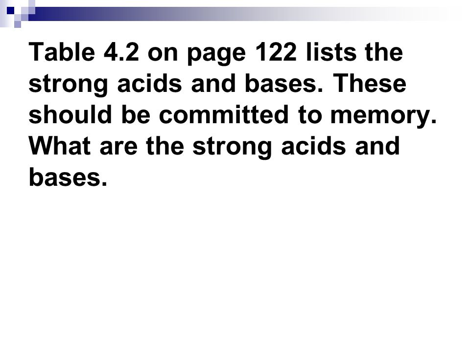 Table 4.2 on page 122 lists the strong acids and bases. These should be committed to memory. What are the strong acids and bases.