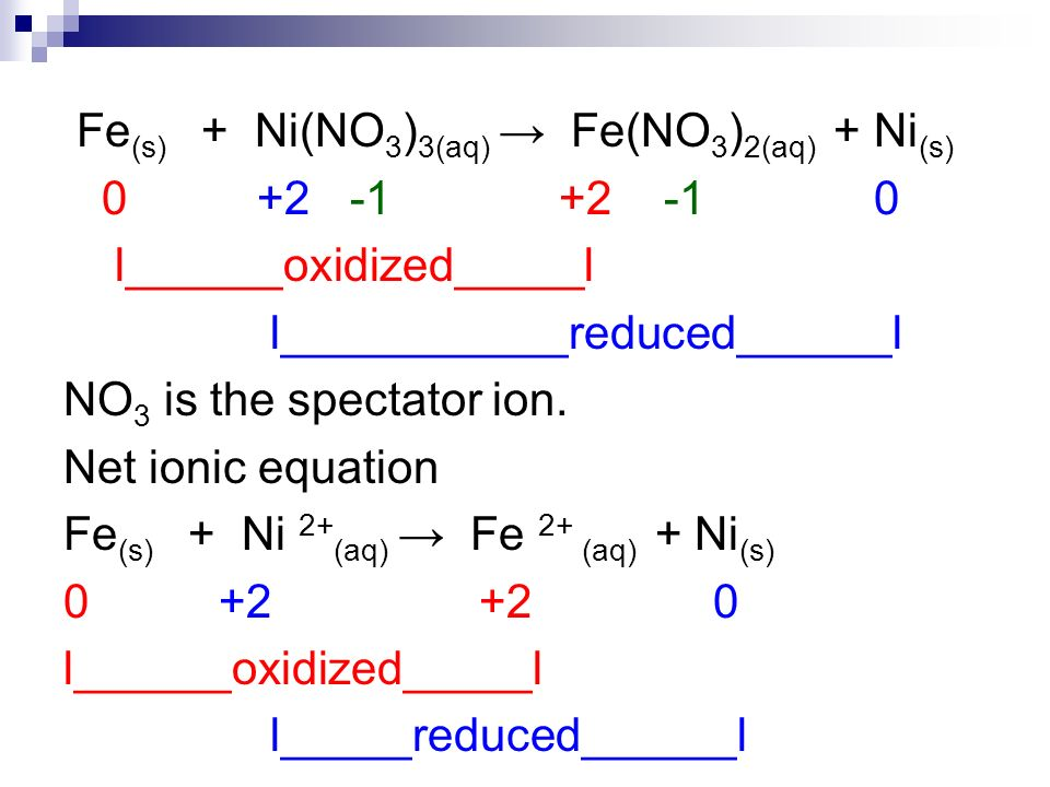 Fe (s) + Ni(NO 3 ) 3(aq) Fe(NO 3 ) 2(aq) + Ni (s) 0 +2 -1 +2 -1 0 l______oxidized_____l l___________reduced______l NO 3 is the spectator ion. Net ioni