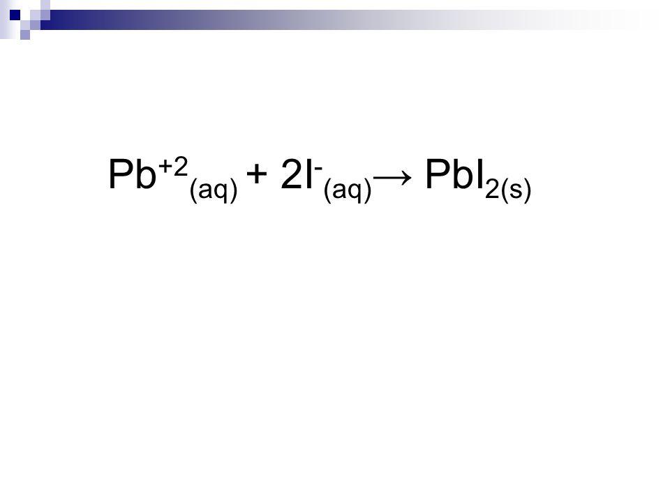 Pb +2 (aq) + 2I - (aq) PbI 2(s)