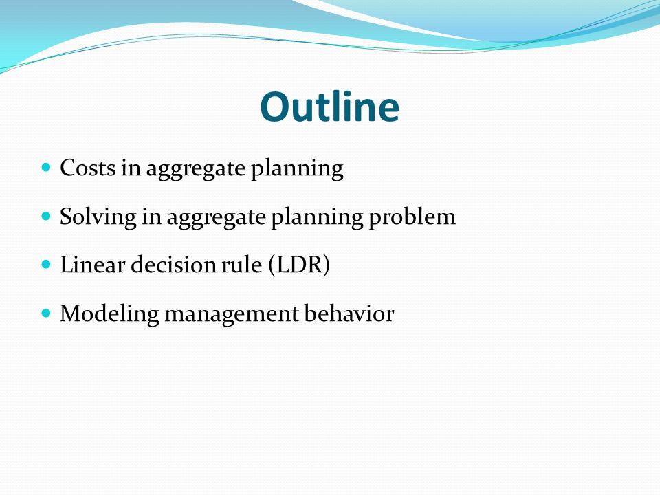 Outline Costs in aggregate planning Solving in aggregate planning problem Linear decision rule (LDR) Modeling management behavior