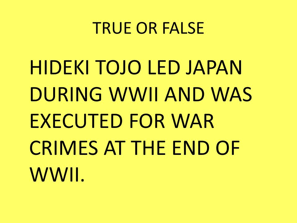 TRUE OR FALSE HIDEKI TOJO LED JAPAN DURING WWII AND WAS EXECUTED FOR WAR CRIMES AT THE END OF WWII.