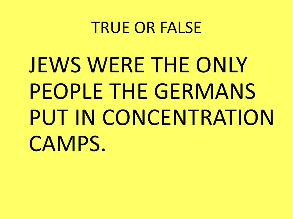TRUE OR FALSE JEWS WERE THE ONLY PEOPLE THE GERMANS PUT IN CONCENTRATION CAMPS.